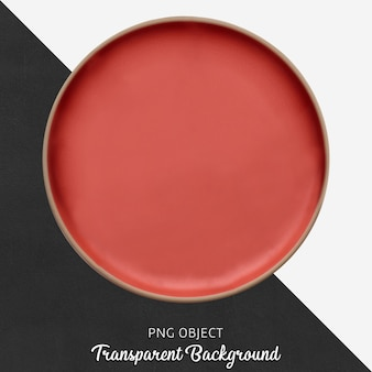 Transparent red ceramic or porcelain round plate