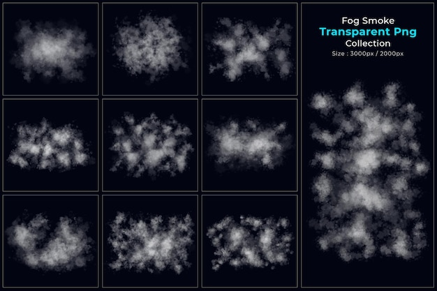 Transparent shapes of fog smoke collection