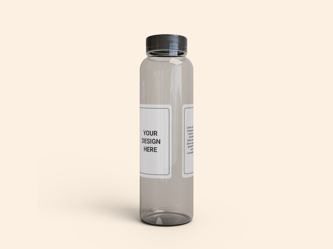 transparent slim plastic juice bottle mockup