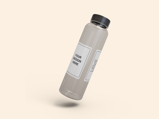Transparent slim plastic juice bottle mockup