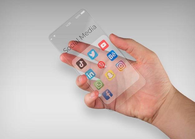 透明なスマートフォン画面のモックアップ