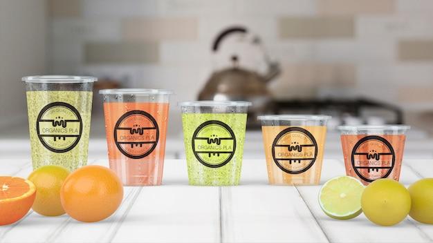 Transparent smoothie glass mockup