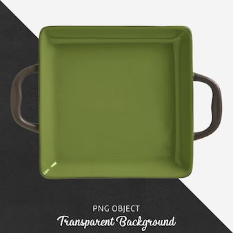 Transparent square green ovenware with handle