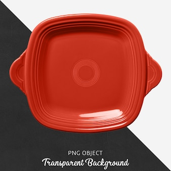 Transparent square red serving plate