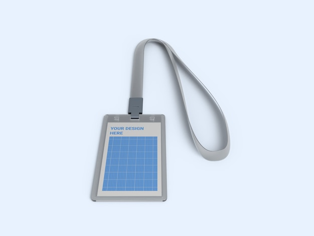 Transparent vertical id card holder mockup