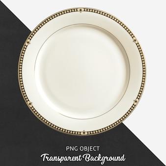 Transparent white ceramic or porcelain round plate