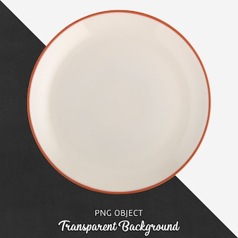 Transparent white ceramic or porcelain round plate