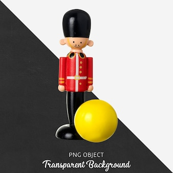 Transparent wooden lead soldier and yellow ball toy