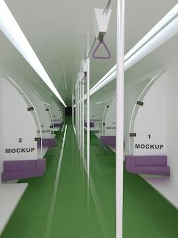 Transportation bench poster mockup design in 3d rendering