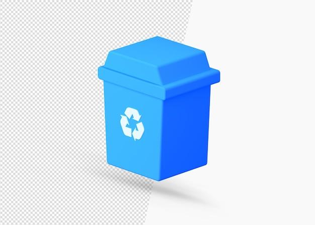 Значок 3d-рендеринга мусора и мусорной корзины