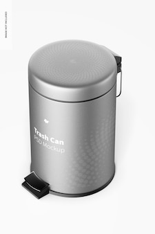 Trash can with foot pedal mockup, left view