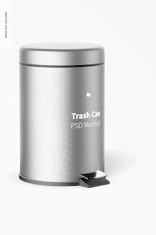 フットペダルモックアップ付きゴミ箱、右側面図