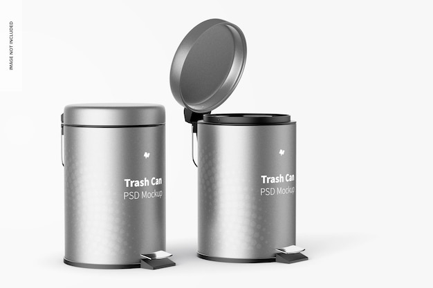Trash cans with foot pedal mockup, opened and closed