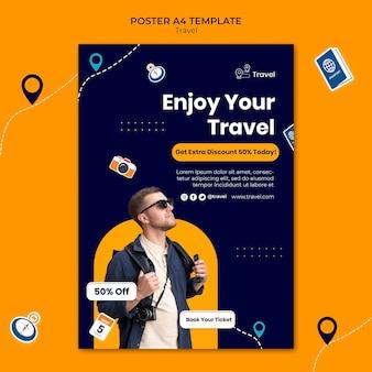 Modello di poster di avventura di viaggio con sconto