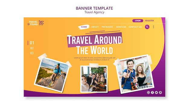 Travel agency ad banner template