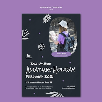 Шаблон рекламного плаката туристического агентства