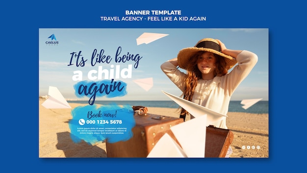 Travel agency banner template girl wearing hat