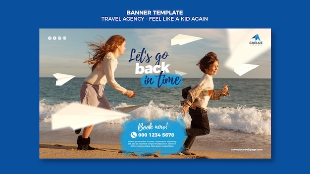 Travel agency banner template kids at seaside
