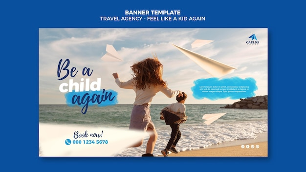 Travel agency banner template at seaside