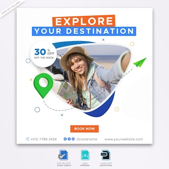 Туристическое агентство баннер шаблон веб-баннер