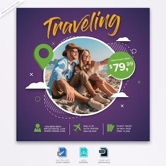 Travel agency banner template web banner