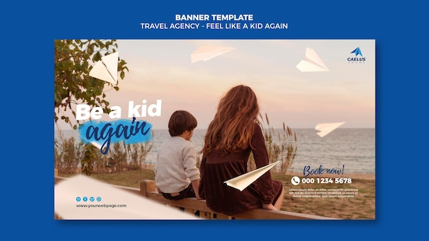 Travel agency banner template with photo