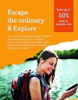Psd шаблон флаера туристического агентства с отпускной фотографией в современном стиле