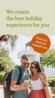Travel agency flyer template psd with vacation photo in modern style