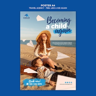 Шаблон плаката туристического агентства дети на пляже