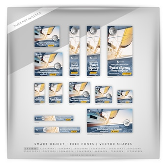 Travel agency promotion banner set