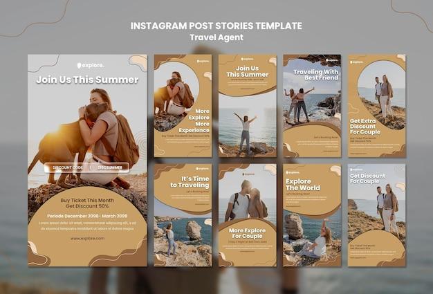 Modello di post instagram concetto di agente di viaggio