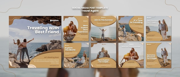 Travel agent concept social media post template