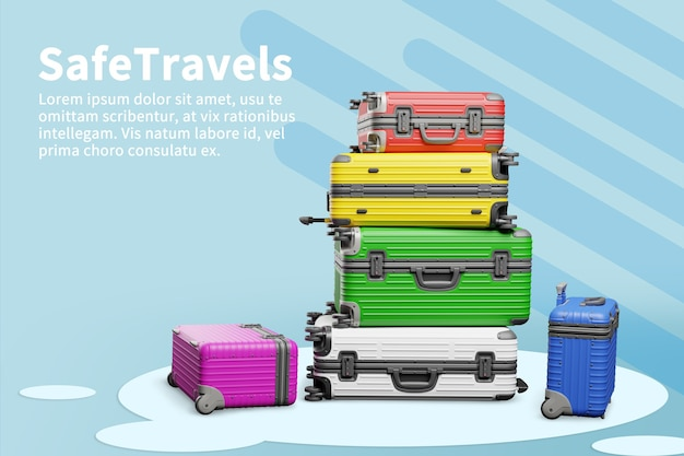 Travel bags in 3d render illustration