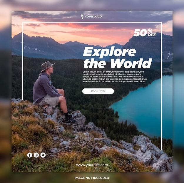 여행 배너 모험 투어 인스 타 그램 포스트 또는 사각형 배너 템플릿