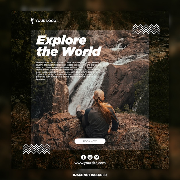 Travel banner adventure tours instagram post or square banner template