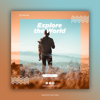 Travel banner social media template or square flyer