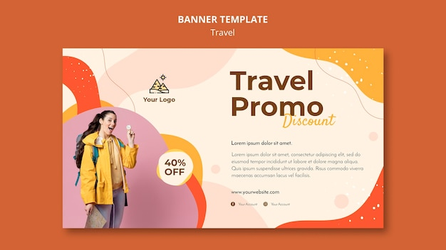Travel banner template concept