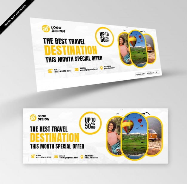 Travel banners with photography