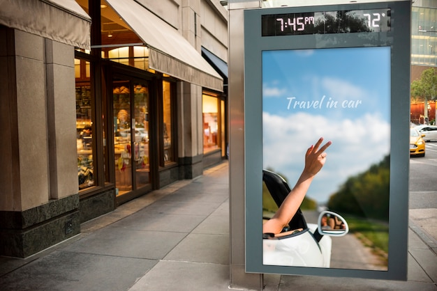 Travel billboard with mock-up