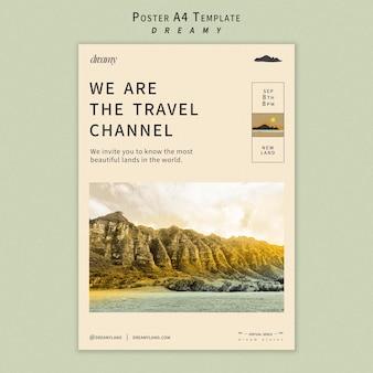 Шаблон плаката туристического канала