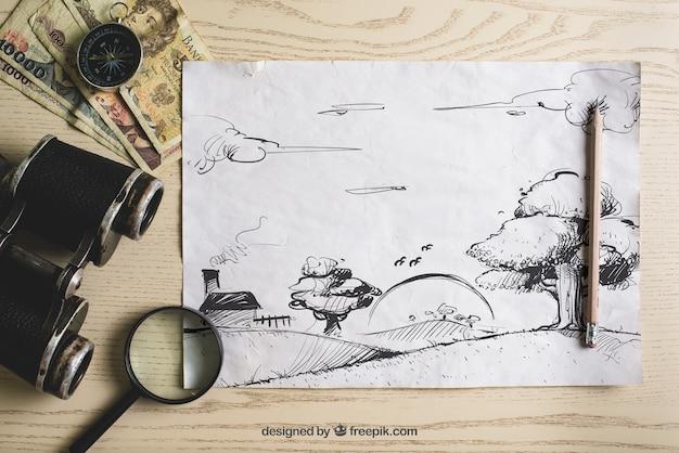 Композиция путешествия с бумагой