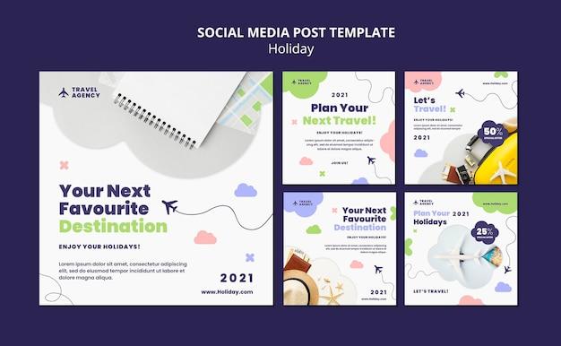 여행 컨셉 소셜 미디어 포스트 무료 PSD 파일