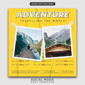 Travel flyer template or social media post