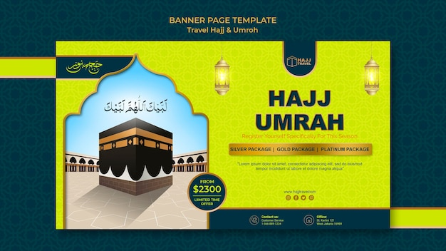 Travel hajj and umrah banner template