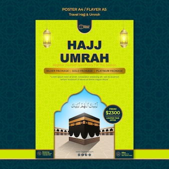 Travel hajj and umrah poster template