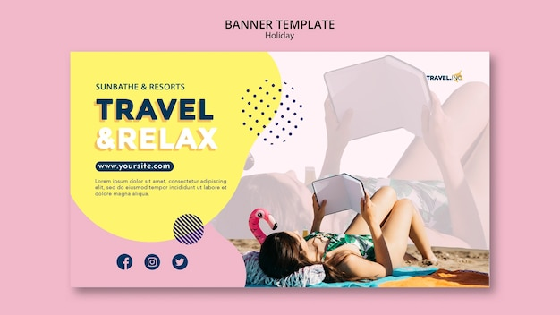 Travel holiday horizontal banner template