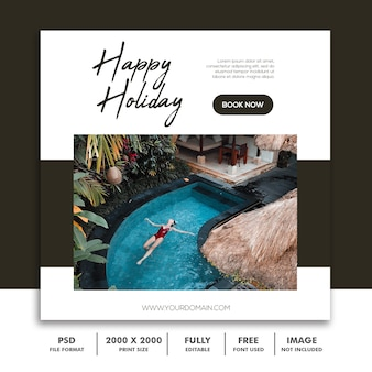 Travel or holiday instagram post template