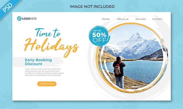 Travel holiday landing page banner template