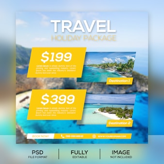 Travel holiday package post banner