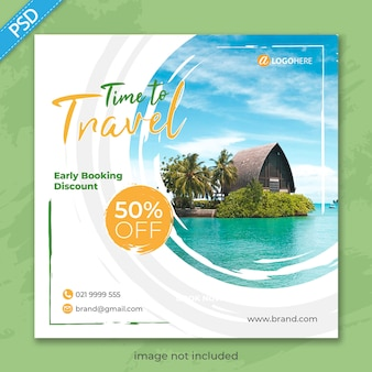 Travel holiday for social media instagram post banner template premium